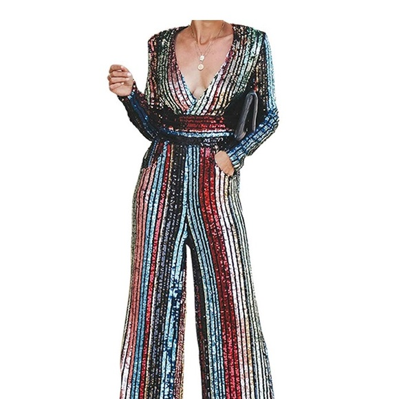 a6f5b2a743a DeepV Pocketed Rainbow Sequins Palazzo Jumpsuit